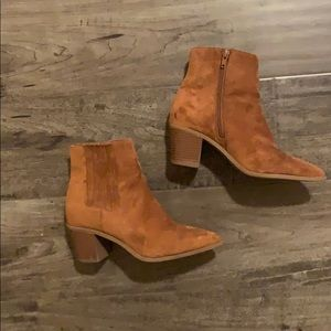 Tan pointed toe booties
